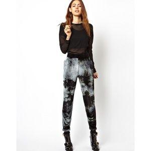 ASOS Velvet velour Peg Pants tie dye black grey 4